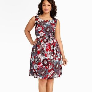 Talbots Floral Jacobean Dress in Red Blue Black